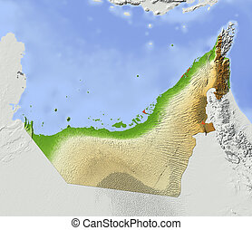 Shaded relief map of Arab Emirates