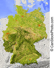 Shaded relief map of Germany - Germany. Shaded relief map....