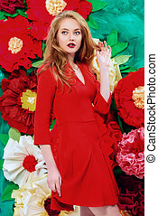 shades of red - Romantic fashion woman with magnificent...