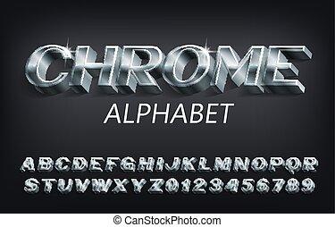 shadow., 3d, nombres, font., symboles, chrome, métallique, alphabet, lettres