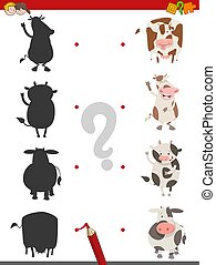shadow activity with cow animals