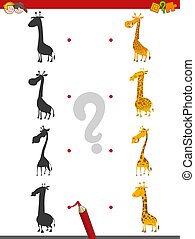shadow activity with giraffes