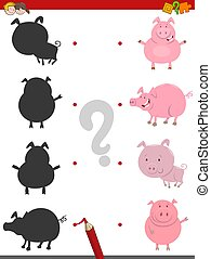 shadow activity with pig animals