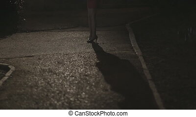 Shadow and the girl's legs in high heels standing in the dark park alone at night