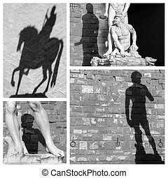 shadow art collage, images from Piazza Signoria in Florence, Ita