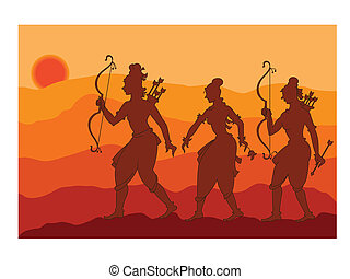 Shadow Art, Rama, Sita, Laxman Vector Art