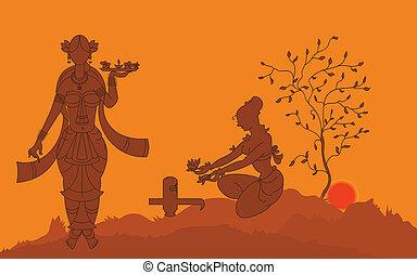 Shadow Art, Women Worshiping
