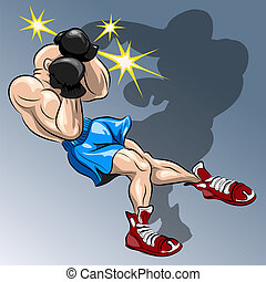 Funny illustration with the boxer who fights against own shadow and loses