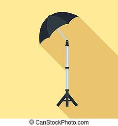 Shadow camera umbrella icon, flat style