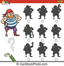 shadow game activity with pirate - Cartoon Illustration of...
