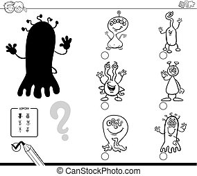 shadow game with alien characters color book - Black and...