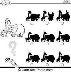 shadow game with animals for coloring - Black and White...