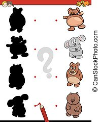 shadow game with bears - Cartoon Illustration of Find the...