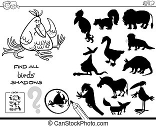 shadow game with birds color book - Black and White Cartoon...