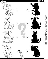 Black and White Cartoon Illustration of Match the Right Shadows with Pictures Educational Game for Children with Comic Dog Characters Coloring Book Page