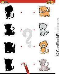 shadow game with cats - Cartoon Illustration of Find the...