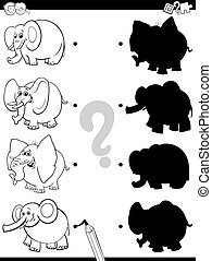 shadow game with elephant characters color book