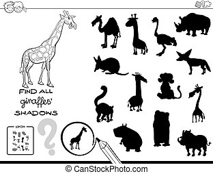 shadow game with giraffes color book - Black and White...