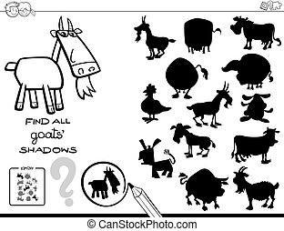 shadow game with goats color book - Black and White Cartoon...