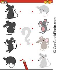 shadow game with mice - Cartoon Illustration of Find the...