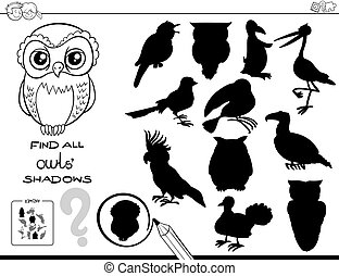 shadow game with owls color book - Black and White Cartoon...