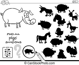 shadow game with pigs color book - Black and White Cartoon...