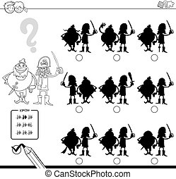 shadow game with pirates coloring page - Black and White...