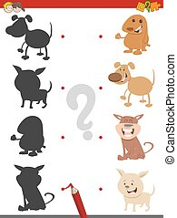 shadow game with puppies - Cartoon Illustration of Find the...