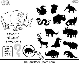 shadow game with rhinos color book - Black and White Cartoon...