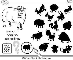 shadow game with sheep color book