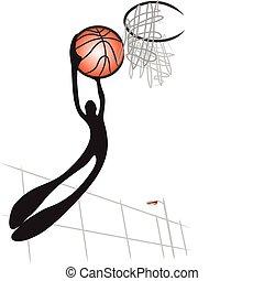 shadow man basketball - Illustrated shadow man playing...