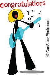 shadow man cartoon congratulations - Man playing guitar and...