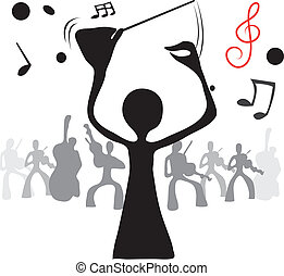 illustrated conductor & music shadow man