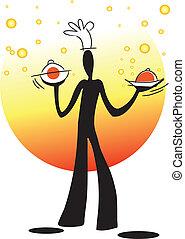 shadow man cooking - illustration shadow man cartoon...
