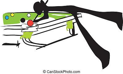 shadow man snooker - illustration shadow man cartoon playing...