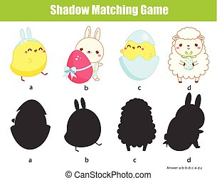 Shadow matching game. Find silhouette. Easter activity for toddlers and pre school age kids.
