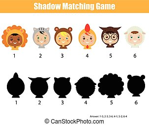 Shadow matching game. Find the correct shadow kids activity...