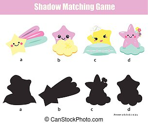 Shadow matching game. Kids activity with cute stars characters