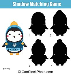 Shadow matching game. Kids activity with cute winter penguin