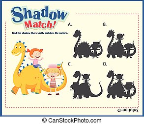 Shadow matching game template with kids and dragon illustration