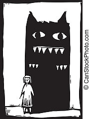 Shadow Monster - Woodcut style image of monster in the...