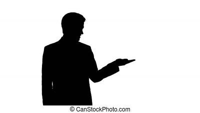 Shadow of a Caucasian man holding his hand for a copy space with white background