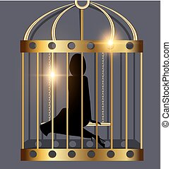 shadow of lady and golden cage