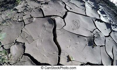 Shadow of person walking on mud cracks in sewage sludge