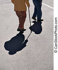 Shadow of senior adults