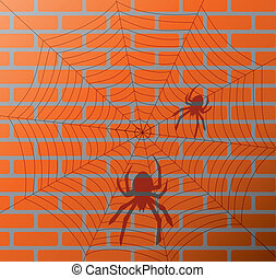 shadow of spiders and web on a brick wall