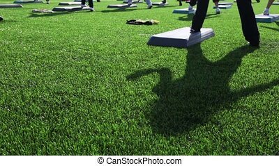 Shadow on grass of girl engaged in mass step aerobic exercise