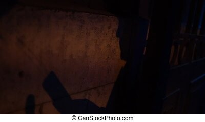 Shadow on the wall of man using smartphone at night. Slow motion.