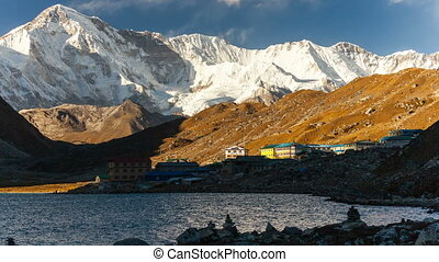 Shadow over the Gokyo village.