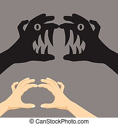 Shadow puppet concept. Two realistic hands showing scary monster on the wall. Theater of shadows concept. Creative flat design Modern vector illustration.